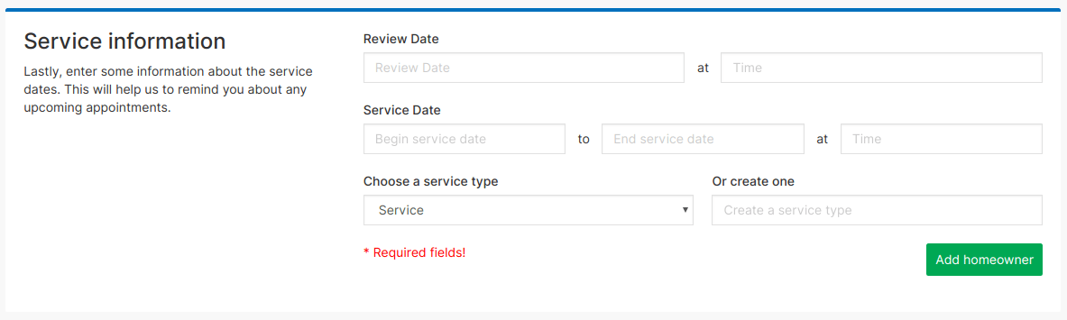 Screenshot of the add a homeowner form